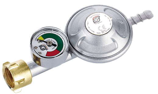 Manometer pressure regulator 30mbar with gas hose pluggable connection , 8-9 mm