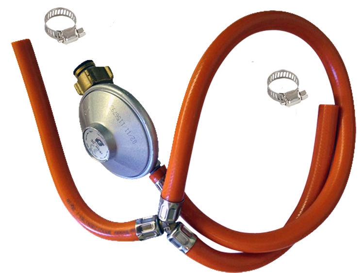 Gas hose with Y-branch with pressure regulator to plug in L / XL